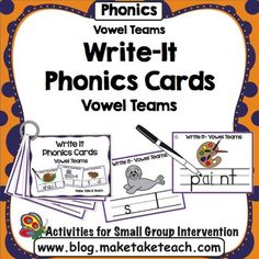 """The Make, Take & Teach Write-It Vowel Teams activity is great for practicing common vowel teams.  When you download this activity, you'll receive 55 Write-It cards for practicing the oa, ee, ea and ai vowel teams.  Simply print the cards on cardstock, laminate, cut them out and bind them together with a 1"""" loose leaf ring."""