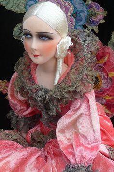 RARE Antique French Boudoir Doll Paris 1920 Silk Fashion Doll C 1920