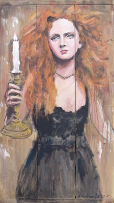 2015.02. Wood desks panel, 96,5 x 56 cm, acryl, varnish  Girl with candle