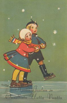 Martta WENDELIN Vintage Christmas Cards, Christmas Images, Christmas Art, Vintage Cards, Vintage Postcards, Winter Images, Winter Pictures, Skating Pictures, Nostalgic Images