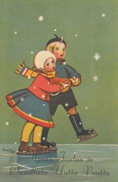Vintage Christmas Cards, Christmas Images, Christmas Greeting Cards, Vintage Cards, Vintage Postcards, Kids Christmas, Skating Pictures, Nostalgic Images, Winter Illustration
