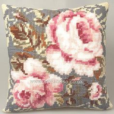 Buy+Rose+Ancienne+Cushion+Front+Chunky+Cross+Stitch+Kit+Online+at+www.sewandso.co.uk