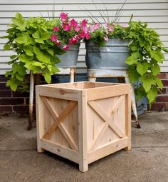 Farmhouse Square Cedar Planter - All About Gardens Diy Wood Planters, Cedar Planter Box, Garden Planter Boxes, Indoor Planters, Flower Planters, Building Planter Boxes, Outdoor Planter Boxes, Square Planter Boxes, Large Square Planters