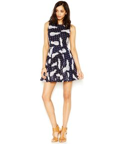 Maison Jules Pineapple-Print Fit-and-Flare Dress
