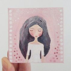 Mini Canvas Original Acrylic Whimsical Painting 7cm by Coramantic, £18.00