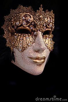 Golden venice mask with black background