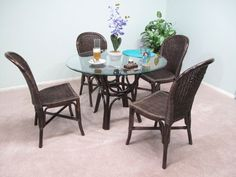 Dark Walnut Assembled Real Indoor Rattan and Wicker Dining Furniture 5-PC Set