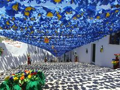 Festas de Campo Maior, Alentejo, Portugal!  (Street paper flowers decoration during Campo Maior festivities)