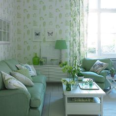 Living room in apple green
