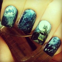 Batman Nails... Oh my gosh these are freakin' AMAZING!   By the awesome @Louise Moss on .IG
