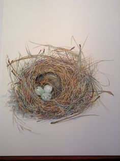Nest that Maryjo Koch just finished painting. Towhee nest from Grass Valley.