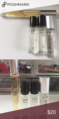 Various rollerball perfumes Esprit D'Oscar by Oscar de la rente, hello by Harvey prince, Gemini by jorel Parker and sultry by inkling. All new and have never been used. Sephora Accessories