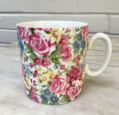 vintage floral mug, tea cup, petite mug 6 ounces, #043 on bottom by MotherMuse on Etsy