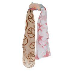 19,90EUR Schal mit Peace Zeichen und Sternen beige rosa