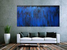 Abstraktes Acrylbild blau modern 100x200cm von xxl-art.de