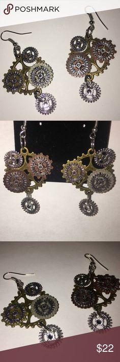 Gear dangle earrings Swarovski crystal steam punk Multicolor gear dangle earrings with Swarovski crystal. Steampunk NEVER WORN Jewelry Earrings