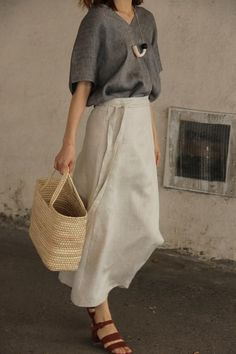 Np linen wrap skirt The wrap-style design lets you wear it lots of different ways with different Adjustable waist with buttons inside. Linen Machine wash cold and hang to dry. Made in South Korea. One size fits XS-M. Modest Outfits, Skirt Outfits, Summer Outfits, Casual Outfits, Fashion Outfits, Womens Fashion, Girly Outfits, Looks Style, My Style