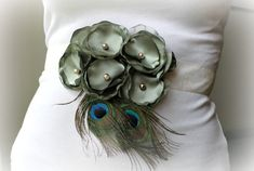 Sage Green Sash with Peacock Feathers for by thelaughingprincess, $34.50