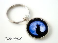 Cat and moon glass key chain by PrettyTissu on Etsy, $9.50