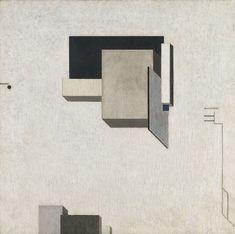 """PROUN  1 C"", DEL ARTISTA SOVIETICO EL LISSITZKY  Fecha: 1919  Técnica: Óleo sobre tabla.  Medidas: 68 x 68 cm  Úbicacion: Museo Thyssen-Bornemisza, Madrid"