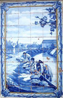 Lavadeiras do Moinho do Canto - Painel de Azulejo da Fonte de 1931, em Rio Maior | Portugal
