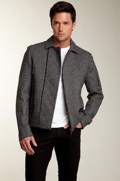 Calvin Klein Collection Tweed Moto Jacket
