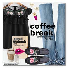 """Caffeine Fix: Coffee Break"" by svijetlana ❤ liked on Polyvore featuring Olympia Le-Tan, Yves Saint Laurent, coffeebreak and shein"