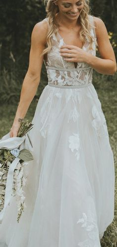 See Through Lace Ivory Tulle V-neck V-back Beach Wedding Dresses,DB0160 Lace Wedding, Wedding Dresses, See Through, Tulle, Ivory, V Neck, Beach, Fashion, Bridal Party Dresses