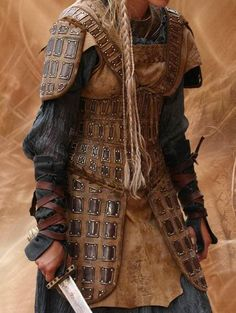 """Norse armor"" I like the idea of how the hip and thigh protection is sewn on to the body like that. The torso obviously would need to be worked over for better coverage and protection."