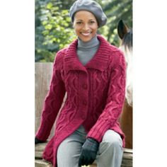 Mary Maxim - Free Long Cabled Cardigan Knit Pattern - Free Patterns - Patterns & Books