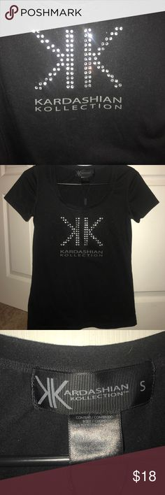 Kardashian Kollection shirt Black Kardashian Collection tee adorned with glitzy rhinestone detail! Kardashian Kollection Tops Tees - Short Sleeve