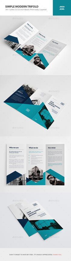 Simple Modern Trifold Brochure Template InDesign INDD