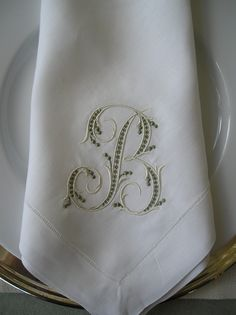 Monogrammed Dinner Napkins… pillow cases, towels, cuffs, collars, hankies, jewelry, bags, sterling silver… just about anything! Gotta love a monogram!