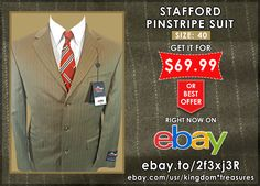 Want a Classic and Stylish Suit? This STAFFORD Pinstripe Suit Will Look Spectacular on You.  Buy It : http://ebay.to/2f3xj3R  #ebay #fashion #shopping #mens #save #deals #bargains #vintage #gifts #giftideas #unique #rare #stafford #suit #jackets #stylish #giftsforhim #forsale
