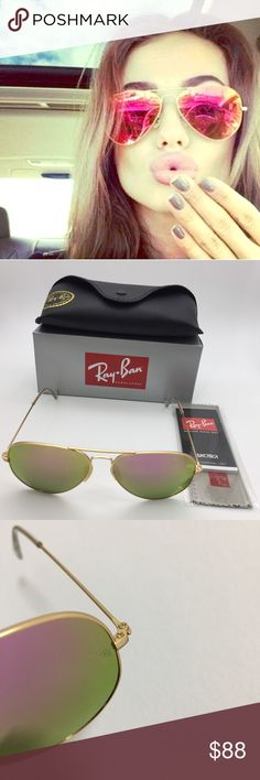 Rayban Cyclamen Sunglasses Barely Worn NWT Aviator -Model: RB3025 112/4T Large Metal Aviator Sunglasses  -Color Cyclamen Lenses and Gold Frame  -Brand new -Barely used -58-14mm (lens and bridge) -They have all marks of authenticity, including theRB engraving on the left lens!👍  -Super fast same or next business day shipping!  -Willing to take any reasonable offers and open to counter either Ray-Ban Accessories Glasses