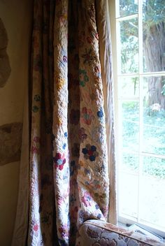 curtain    ~ I would back the quilt with a sheet so the Quilt does not fade. But do not use an heirloom quilt .