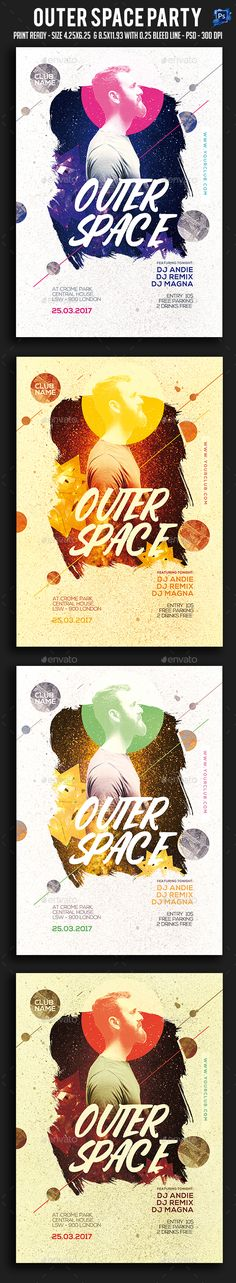 Outer Space Party Flyer Template PSD