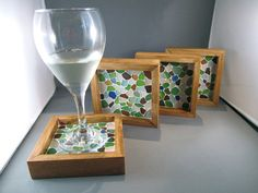 Beer wine coaster beach glass sea ocean wooden by susanlshaw, $100.00