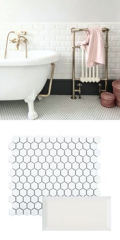 We're in awe of Sam, who has created this fabulous vintage-styled bathroom. She has introduced White Chapel Mini Metro Tiles in a refreshing white hue. A classic design, metro tiles have the ability to create either a traditional or modern look in a home. Vintage Bathroom Floor, Hexagon Tile Bathroom Floor, Metro Tiles Bathroom, Hexagon Mosaic Tile, White Mosaic Tiles, White Bathroom Tiles, Bathroom Tile Designs, Vintage Bathrooms, Bathroom Flooring