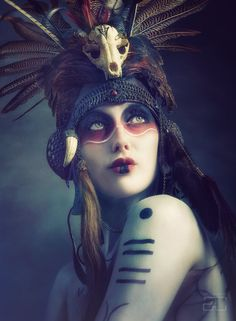 'Anoush' Tribal Portrait -Aviator Helmet headdress by Genevieve-Amelia on deviantART