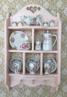Shabby Pink Teacup Shelf,Curio Shelf,Rack,Cubby shelf,Chippy distressed,display shelf,curio cabinet,Shabby Cottage,svfteam by FannyPippin on Etsy https://www.etsy.com/listing/264991636/shabby-pink-teacup-shelfcurio