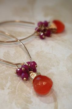 Carnelian and Ruby 14k Gold Filled Wire