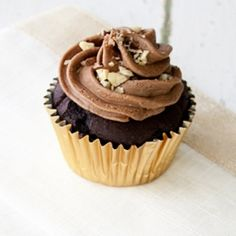 Ferrero Rocher inspired cupcakes with dark chocolate cake, Nutella ganache filling, and chocolate hazelnut buttercream.
