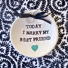 Text Bowl Ring Bearer Wedding Vows Text with Heart by SayYourPiece, $20.00