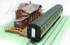 Request stop station cardboard model H0 scale 1/87
