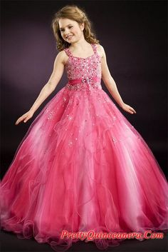 ball gown dresses for girls | Pageant dresses,Locely ball gown strap floor-length little girl dress ...