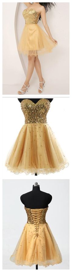 Gold Homecoming Dress,Prom Dress Fr
