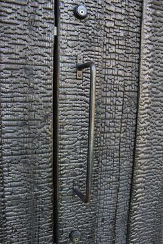Charred wood door - shou-sugi-ban method (blowtorch) - Uno Tomoaki
