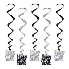 33″ Black and Silver Happy New Year Whirls - $8.09 #2015NewYear