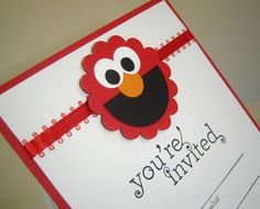 Elmo Sesame Street Birthday Invitation. $2.75, via Etsy...This would be so easy with just some punches and scissors!!